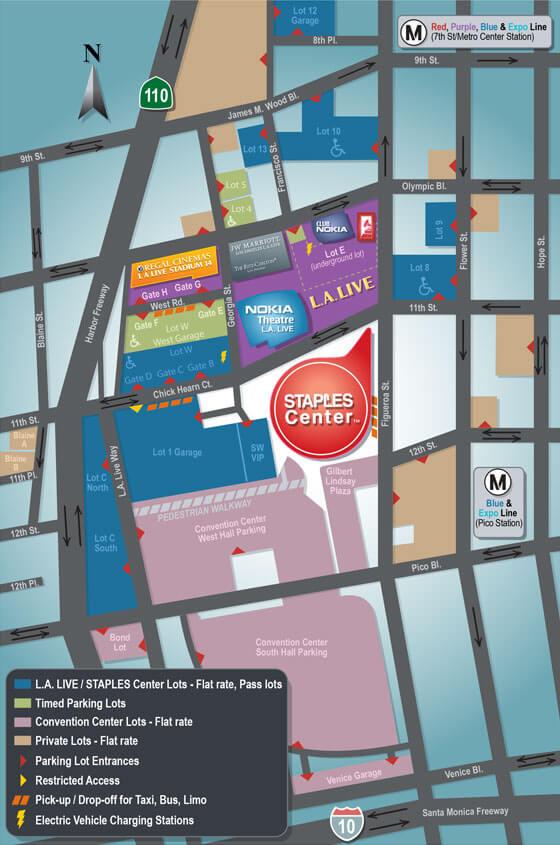 STAPLES Center Parking Lot Map